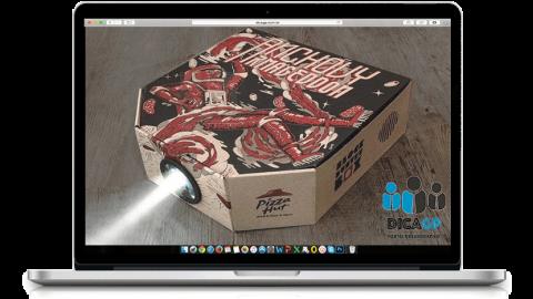 Pizzaria cria caixa projetor